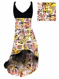 SALE! Yellow & Black Diamond & Daisy Ganado Tribal Print Slinky Plus Size Customizable Hi-Low Empire Waist Dress 5x Add Matching Wrap 5x