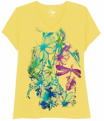 SALE! Just Reduced! Yellow Dragonflies Print Glittery Floral Plus Size T-Shirt 4x 5x