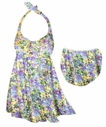 SALE! Yellow Violets Floral Print Plus Size Halter SwimDress Swimwear or Shoulder Strap 2pc Swimsuit 2x