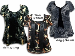 SOLD OUT! SALE! Yummy Plus Size Slinky Tie Tops! Pretty Prints! Black - Gray - Bronze with Neck Ties 4x 5x 6x