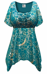Customizable Teal With Gold Metallic Slinky Print Plus Size & Supersize Babydoll Top 0x 1x 2x 3x 4x 5x 6x 7x 8x