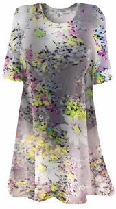 Semi-Sheer Beautiful Colorful Gray Floral Print Plus Size Coverup Tops or Dresses / Swimsuit Coverups Plus Size & Supersize 3x 4x 5x 6x 7x 8x