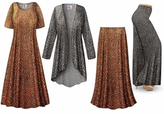 Shimmery Leopard Slinky Print - Plus Size Slinky Dresses Shirts Jackets Pants Palazzo�s & Skirts - Sizes Lg to 9x