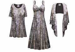 Silver & Black Slinky Print - Plus Size Slinky Dresses Shirts Sizes Lg to 9x