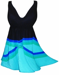 SALE! Black & Aqua Geometric Plus Size & Supersize Halter Top or Shoulder Strap 2pc Swimsuit 1x