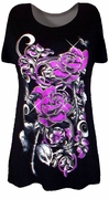 SOLD OUT! SALE! Black & Magenta Silver Glittery Roses Plus Size T-Shirts 2X