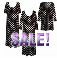 SALE! Black & White Big Dots Plus Size Supersize Slinky Dress Shirts or Jackets Lg XL 0x 1x 2x 3x 4x 5x 6x 7x 8x 9x