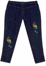 SOLD OUT! FINAL SALE! Dark Blue Flamingo Rhinestone Jeans 26w