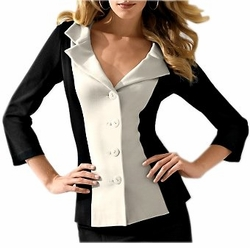 SOLD OUT!!!!!CLEARANCE! Stunning Black & Off-White Hold-You-In Plus-Size Slim Jacket 24w/3x