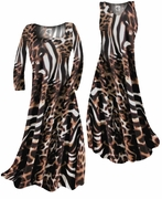 SOLD OUT! SALE! Brown Tan & Black Animal Print Slinky Plus Size & Supersize Princess Shirts 2x