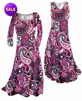 SALE! Raspberry Paisley Teardrop Slinky Print Plus Size & Supersize A-Line Dresses 5x