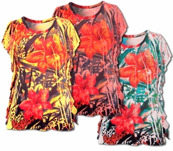 FINAL SALE! Coral - Yellow or White Tropical Sublimation Floral Plus Size Jersey Caftan Style Tunic Top 4x 5x 6x