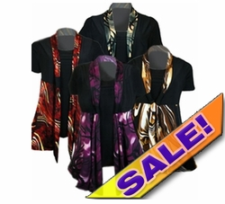 FINAL SALE! Just Reduced! Cute Slinky Mock 2pc Tie Tops! Black & Purple, Black & Bronze, Black & Green! Plus Size Supersize 4x 5x 6x