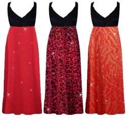 Red with Gold Zebra, Red Hearts, or Black w/Ruby Leopard Glimmer Plus Size Slinky Black Empire Waist Dress add Matching Wrap 0x 1x 2x 3x 4x 5x 6x 7x 8x