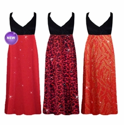 NEW!! Red with Gold Zebra, Red Hearts, or Black w/Ruby Leopard Glimmer Plus Size Slinky Black Empire Waist Dress add Matching Wrap 0x 1x 2x 3x 4x 5x 6x 7x 8x