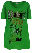 SALE! FINAL SALE! Pretty Green Glittery Baby Star Design Plus Size T-Shirts 1X