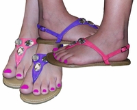 FINAL SALE! Pretty Shiny Sparkly Purple or Pink Sandal Flat Shoes Strappy Or With Rhinestones! Size 8.5