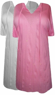 SALE!Light Pink or White Starry Night Crepe Swimsuit Cover-Ups or Over-Blouse Plus Size & Supersize 1x