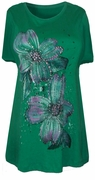 SOLD OUT! SALE!!!!!! Pretty Tropical Green Glittery Floral Plus Size T-Shirts 3X