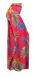 SALE! Red With Blue Tropical Flowers Slinky Print Plus Size & Supersize Palazzo Pants - Tapered Pants  - Sizes Lg to 9x