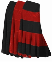 SOLD OUT! Pretty Black Solid or Multi Black Red Plus Size Elastic Waist Crush Velvet Tiered Skirt