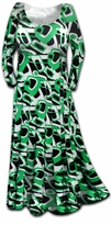 SALE! Stunning Green Geometric Print Slinky Plus Size & Supersize Dress 3x