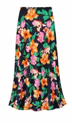 CLEARANCE! Sweet Lilies Slinky Print Plus Size & Supersize Skirt 1X