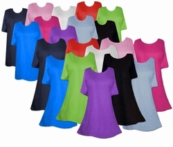 <center>PLUS SIZE & SUPER SIZE<br>Solid Color T-Shirts <br>Plus Size Sizes Lg to 6xl<br>Supersize (extra long & extra roomy hips!) Sizes 0x to 9x<p align=left><br>