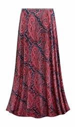 SALE! Customizable Berry Navy Paisley Slinky Print Plus Size & Supersize Skirts - Sizes Lg XL 1x 2x 3x 4x 5x 6x 7x 8x 9x