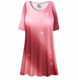 SALE! Customizable Rosy Glitter Slinky Print Plus Size & Supersize Short or Long Sleeve A-Line Shirts - Tunics - Tank Tops - Sizes Lg XL 1x 2x 3x 4x 5x 6x 7x 8x 9x