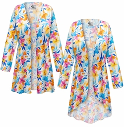 SALE! Customizable Sunday Morning Floral Slinky Print Plus Size & Supersize Jackets & Dusters - Sizes Lg XL 1x 2x 3x 4x 5x 6x 7x 8x 9x