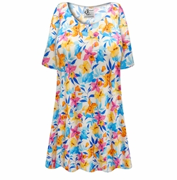 SALE! Customizable Sunday Morning Floral Slinky Print Plus Size & Supersize Short or Long Sleeve Shirts - Tunics - Tank Tops - Sizes Lg XL 1x 2x 3x 4x 5x 6x 7x 8x 9x