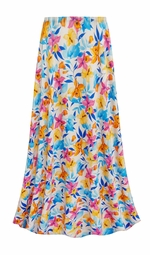 SALE! Customizable Sunday Morning Floral Slinky Print Plus Size & Supersize Skirts - Sizes Lg XL 1x 2x 3x 4x 5x 6x 7x 8x 9x
