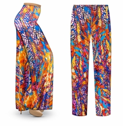 SALE! Customizable Color Infusion Slinky Print Plus Size & Supersize Palazzo Pants - Tapered Pants - Sizes Lg XL 1x 2x 3x 4x 5x 6x 7x 8x 9x