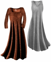 Sparkly Copper Gold Glitter or Silver Lame' Slinky Plus Size & Supersize Customizable Dresses Shirts & Jackets Lg to 9x
