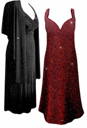 Stunning Black Glimmer Glitter, Red & Black Glimmer, Red Zig Zag, or Gray Sequins Sparkly 2 Piece Plus Size SuperSize Princess Seam Dress Set  0x 1x 2x 3x 4x 5x 6x 7x 8x