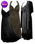 SALE! MANY GLIMMER COLORS! Stunning Black & Red Glimmer, Black and Gold Glimmer, Purple Glimmer, Black Glimmer, or Black Multi Glimmer Sparkly 2 Piece Plus Size SuperSize Princess Seam Dress Set 1x 2x