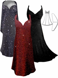 SALE! MANY GLIMMER & GLITTER COLORS! Stunning Black & Red Glimmer, Black and Gold Glimmer, Purple Glimmer, Black Glimmer, Dark Gray Sheer Sequins or Black Multi Glimmer Sparkly 2 Piece Plus Size SuperSize Princess Seam Dress Set 1x 3x 4x 6x
