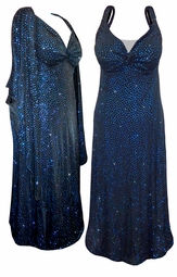 Stunning Sparkly Blue Dots 2 Piece Plus Size SuperSize Princess Seam Dress Set  0x 1x 2x 3x 4x 5x 6x 7x 8x