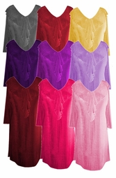 Stylish Solid Colors Ruffled V-Neckline Plus Size & Supersize Slinky Top 0x 1x 2x 3x 4x 5x 6x 7x 8x 9x