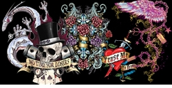 """<font size=""""3"""" color=""""purple""""><b><center>Tattoo & Gothic Prints!<br></b><font size=""""1"""" color=""""red""""> <br></font>"""