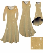 Taupe & Gold Glimmer Ribbed Vertical Lines Slinky Print Plus Size & Supersize Dress 1x