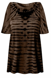 SALE! Black & Brown Striped Tie Dye Plus Size T-Shirt L XL 2x 3x 4x 5x 6x