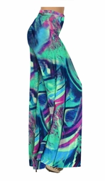 Teal Green and Purple Wild Print Slinky Special Order Customizable Plus Size & Supersize Pants, Capri's, Palazzos or Skirts! Lg to 9x