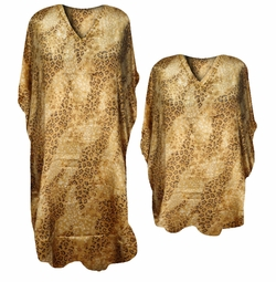 SALE! Wild Leopard Spots and Mini Floral Golden Print Poly/Satin Plus Size & Supersize Caftan Dress or Shirt 1x to 6x
