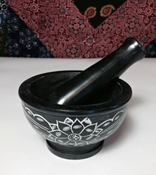 Carved Floral Black Stone Mortar & Pestle-4""