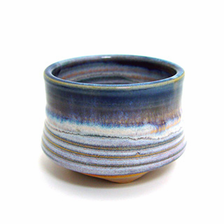 Incense Cup:Glazed Ceramic-Blue Rim