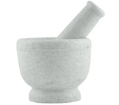 "White Marble Mortar & Pestle-4"" H, 5"" D"
