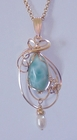Beautiful Larimar Pendant with Freshwater Pearl Accent