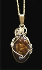 Fire Agate Jewelry Pendant 14k Gold